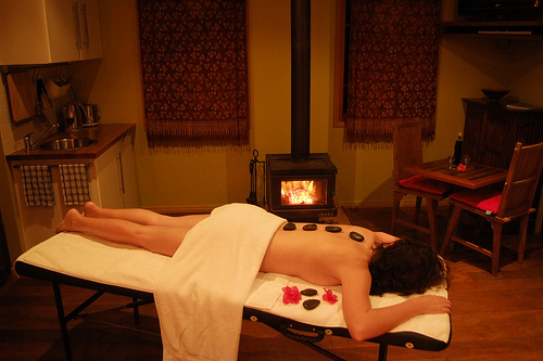 hot stone massage on a winter's day
